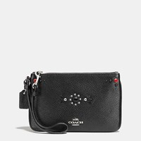 Coach Western Rivets Small Wristlet In Polished Pebble Leather Silver Black