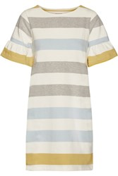 Chinti And Parker Ruffle Trimmed Striped Cotton Mini Dress Chartreuse