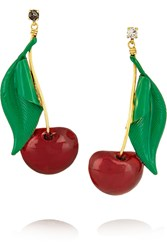 Erickson Beamon Cherry Pie Gold Plated Swarovski Crystal And Enamel Earrings
