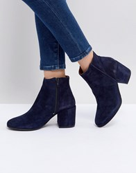 Selected Suede Ankle Boot With Chunky Heel Navy
