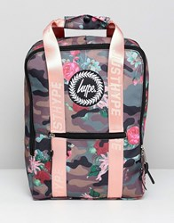 Hype Camo Pink Floral Boxy Backpack Khaki Pink Multi