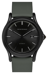 Emporio Armani Swiss Made Automatic Leather Strap Watch 42Mm Regular Retail Price 1295.00 Military Green Black