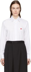 Comme Des Garcons Play White Tiny Heart Patch Shirt
