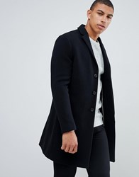 Selected Homme Recycled Wool Overcoat In Black