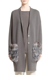 Fabiana Filippi Women's Wool Silk And Cashmere Cardigan With Genuine Fox Fur And Ostrich Feather Trim Slate