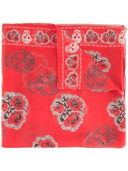 Alexander Mcqueen Poppy And Skull Print Scarf Red