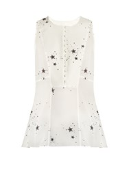 A.L.C. Erin Star Print Sleeveless Silk Georgette Top Ivory
