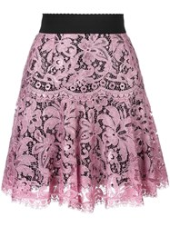 Dolce And Gabbana Lace Pleated Skirt Pink Purple