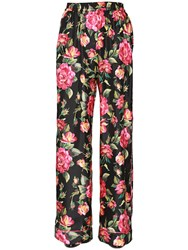 Dolce And Gabbana Flowers Printed Silk Twill Pants