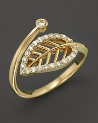 Kc Designs Diamond Leaf Midi Ring In 14K Yellow Gold