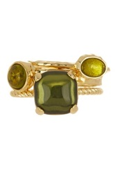 Ariella Collection Stone Accented Stacked Ring Set Green