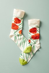 Bonne Maison Blooming Peonies Crew Socks Ivory