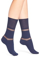 Women's Elie Tahari Shadow Stripe Ankle Socks Blue Deep Navy