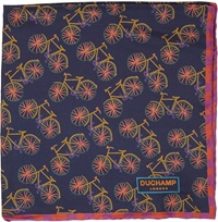 Duchamp Bicycle Pocket Square Blue
