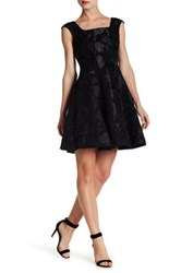Donna Ricco Cap Sleeve Floral Fit And Flare Dress Black
