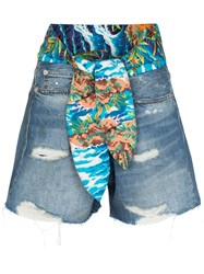 R 13 R13 Jasper Tie Waist Denim Shorts Blue