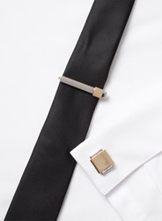 Topman Silver Two Tone Cuff Links And Tie Pin Set