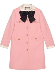 Gucci Wool Coat With Bow Pink