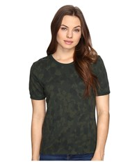 Obey Fillmore Ringer Top Army Multi Women's T Shirt Brown