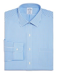 Brooks Brothers Gingham Check Regular Fit Dress Shirt Blue