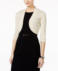 Jessica Howard Petite Three Quarter Sleeve Shrug Cardigan Natural