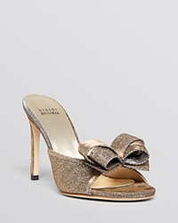 Stuart Weitzman Platform Evening Slide Mule Sandals Songbird High Heel Pyrite