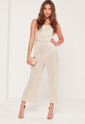 Missguided Pleated Strappy Back Culotte Jumpsuit Nude