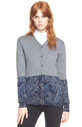 Marc By Marc Jacobs 'Acanthus' Printed Button Cardigan Gettysburg Blue Multi