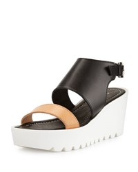 Charles David Apria Leather Wedge Sandal Gray