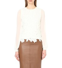 Karen Millen Floral Lace And Georgette Top Cream