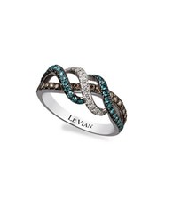 Levian 14K Vanilla Gold Iced Blueberry Vanilla And Chocolate Diamond Ring 0.62 Tcw Yellow Gold
