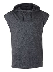 Topman Dark Grey Salt And Pepper Sleeveless Hoodie
