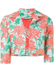 P.A.R.O.S.H. Floral Brocade Cropped Jacket Pink And Purple