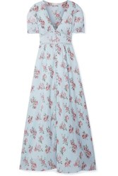 Loveshackfancy Stacy Lace Trimmed Floral Print Cotton Crepon Maxi Dress Light Blue