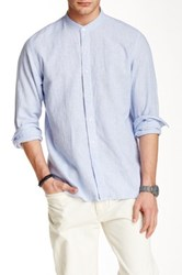 Toscano Stripe Mandarin Collar Shirt Blue