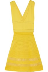 M Missoni Crochet Knit Cotton Blend Mini Dress Yellow