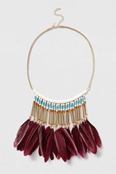 Topshop Beaded Feather Drop Necklace Turquoise