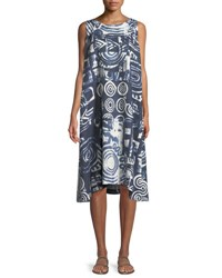 Eskandar Sleeveless Printed Linen Shift Dress Indigo