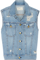 Current Elliott The Sleeveless Rider Distressed Denim Vest