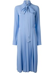 N 21 No21 Pleated Pussybow Shirt Dress Blue
