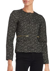 Helene Berman Textured Zip Front Blazer Black Gold