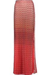 Missoni Embellished Metallic Crochet Knit Maxi Skirt Red