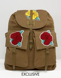 Reclaimed Vintage Backpack With Rose Badges Green
