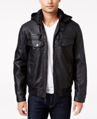 Inc International Concepts Men's Croydon Faux Leather Hooded Jacket Only At Macy's Black