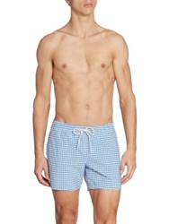 Lacoste Gingham Print Swim Trunks Red Thermal Blue White Gingham