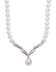 Lord And Taylor Sterling Silver With 14Kt. Rose Gold Pearl Diamond Necklace