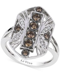 Le Vian Chocolatier Chocolate Deco White And Chocolate Diamond 1 2 Ct. T.W. Deco Ring In 14K White Gold