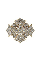 Kenneth Jay Lane Crystal Cross Brooch Gold