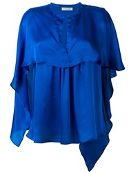 Christian Wijnants Ruffled Blouse Women Silk 40 Blue