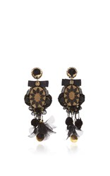 Ranjana Khan Black Pressed Glass Earrings